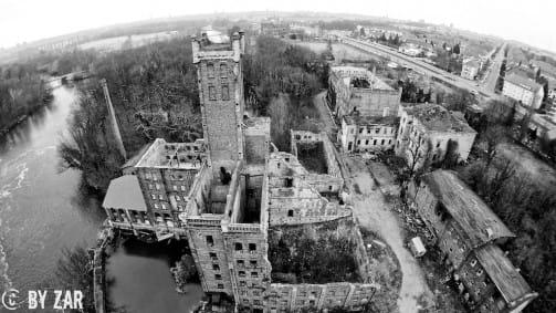 Urbex Copter filmt Hildebrandsche Mühle in Halle - aerial photography